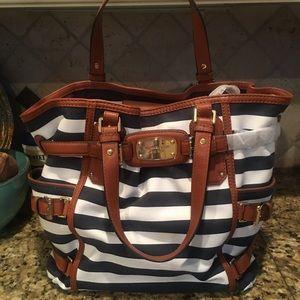 NWT Michael Kors navy and white striped bag